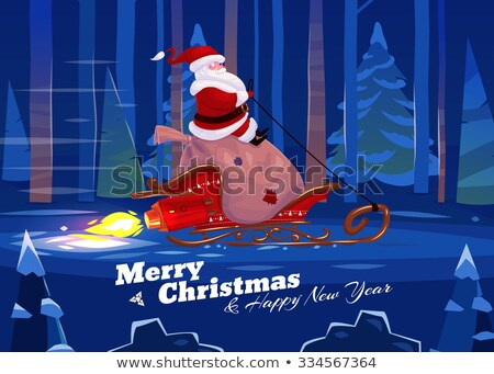 Santa Rocket Sleigh Merry Christmas Background  Stock photo © Krisdog