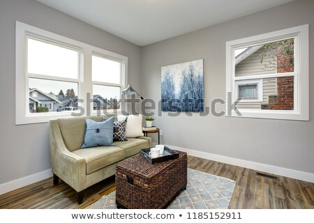 cozy seating area with a rattan trunk coffee table and an ivory sofa stock photo © iriana88w