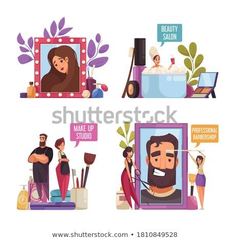 Cabelo make-up rosto texto conjunto vetor Foto stock © robuart