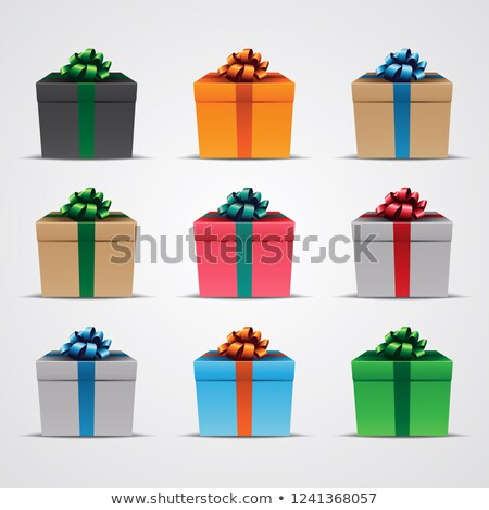 Square Gift Boxes with Glossy Ribbons - Set 2 Vector Illustratio Stock photo © cidepix