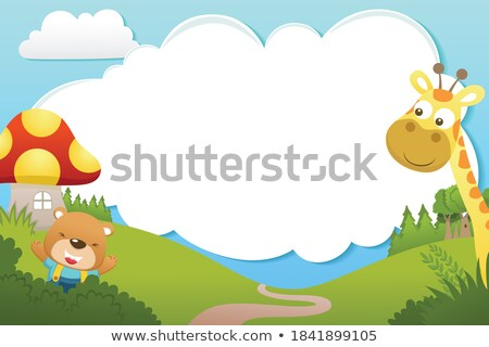 Ramki szablon żyrafa parku ilustracja papieru Zdjęcia stock © colematt