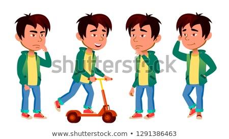 Asya erkek çocuk ayarlamak vektör Stok fotoğraf © pikepicture