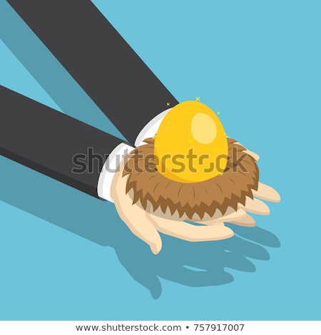 Human Hand Holding Retire Egg In Nest Stock photo © AndreyPopov