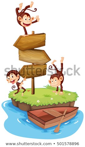 majmok · csónak · illusztráció · sok · tenger · óceán - stock fotó © colematt