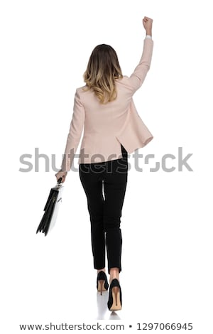 カジュアル · 女性 · 立って · 手 · 戻る - ストックフォト © feedough