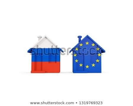 два домах флагами Россия Евросоюз изолированный Сток-фото © MikhailMishchenko