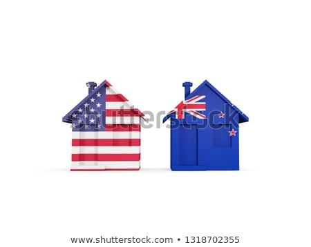 Dois casas bandeiras Estados Unidos Nova Zelândia isolado Foto stock © MikhailMishchenko