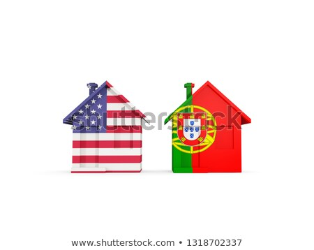 Two houses with flags of United States and portugal Stock photo © MikhailMishchenko