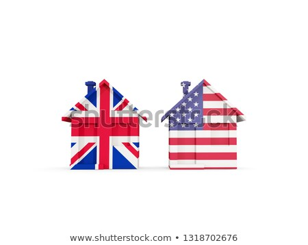 Two houses with flags of United States and UK Stock photo © MikhailMishchenko
