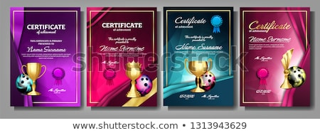 Bowling Game Certificate Diploma With Golden Cup Vector. Sport Graduate Champion. Best Prize. Winner Stock photo © pikepicture