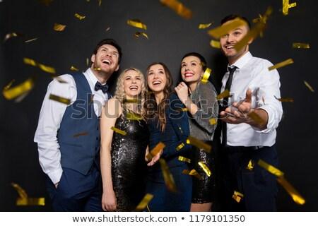 Gelukkig vrienden partij confetti zwarte viering Stockfoto © dolgachov