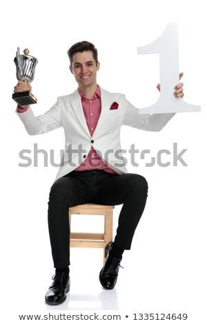 小さな 成功した ビジネスマン トロフィー 番号 ストックフォト © feedough