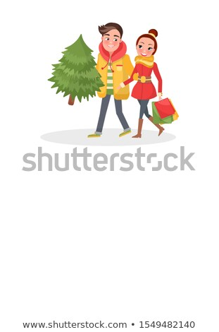 Merry Couple Returns from Shopping, Christmas Tree Stock photo © robuart