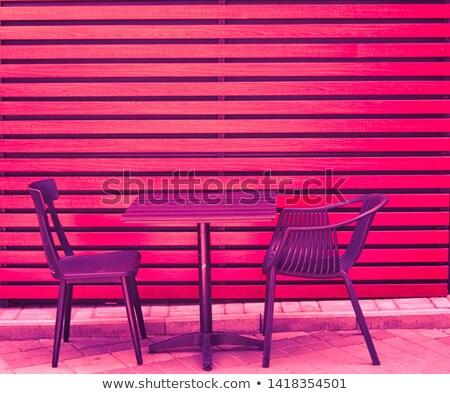 servido · tabela · luxo · ao · ar · livre · restaurante · raso - foto stock © dashapetrenko