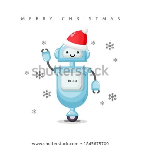 rajz · robot · visel · mikulás · kalap · illusztráció - stock fotó © bennerdesign