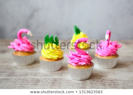 розовый фламинго ананаса празднование дня рождения тропические Сток-фото © dashapetrenko