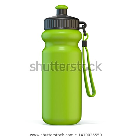 Green sport plastic water bottle standing