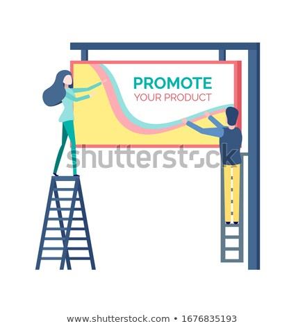 Man on Stairs Hanging Advertising, Reclame Vector Stock photo © robuart