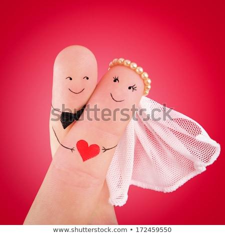 Esküvői meghívó boldog friss házas pár tánc mosolyog Stock fotó © robuart