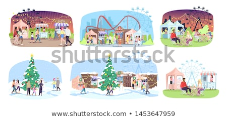 ferris wheel amusement park roller coaster trees stock photo © robuart