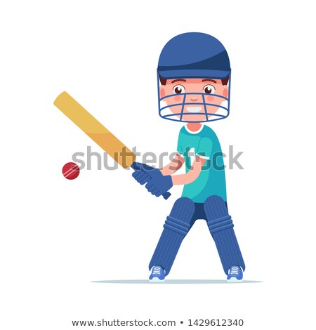 Personas casco guantes jugando cricket vector Foto stock © robuart