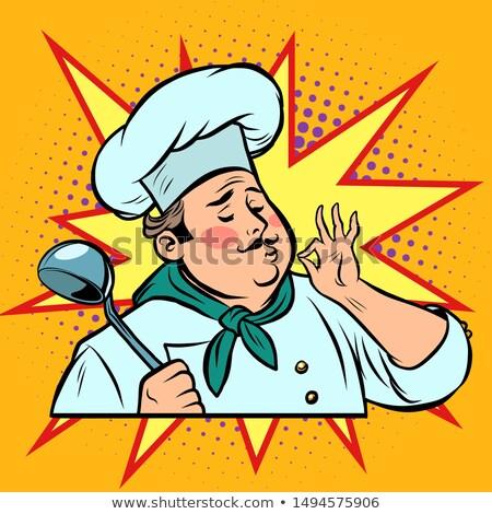 Szakács ok kézmozdulat gurmé étel ízlés képregény Stock fotó © rogistok