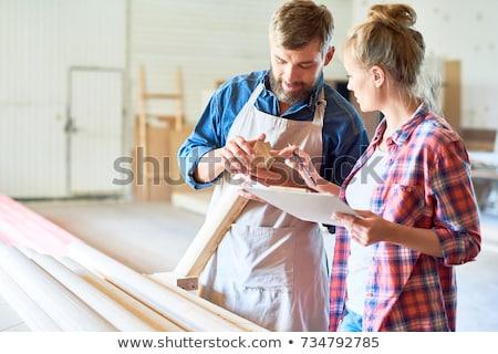 Twee werken workshop beroep timmerwerk houtwerk Stockfoto © dolgachov