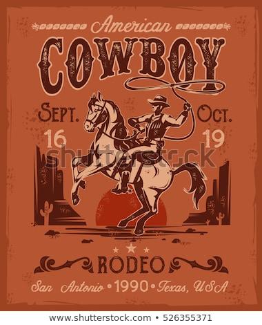 Vintage Horse riding emblems Stock photo © netkov1