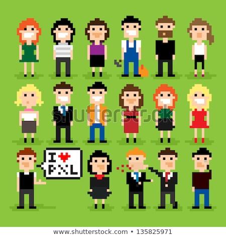 Пиксели люди секретарь служащих искусства Сток-фото © robuart