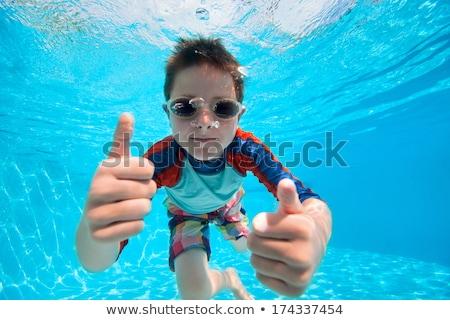 Fiú úszik vízalatti kicsi aranyos visel Stock fotó © Kzenon