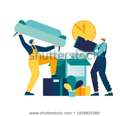 workers moving furniture indoor relocation vector stock photo © robuart