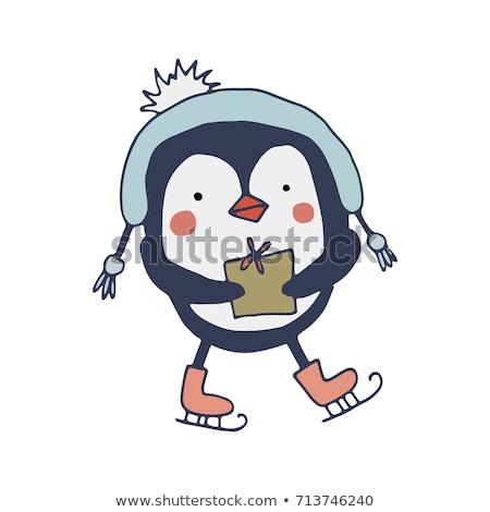 Gioia biglietto d'auguri pinguino pattini vettore animale Foto d'archivio © robuart