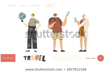 Binnenkant land landing pagina paar Stockfoto © RAStudio