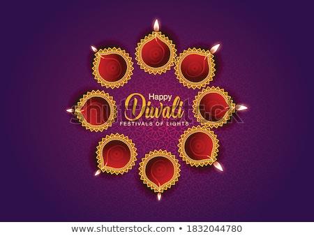 beautiful diwali diya lights lamp banner with text space stock photo © sarts