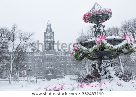 Tourny fountain Convention center in winter snowstorm Stock photo © Lopolo
