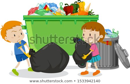 Two kids dumping trash by the trashcan Stock photo © bluering