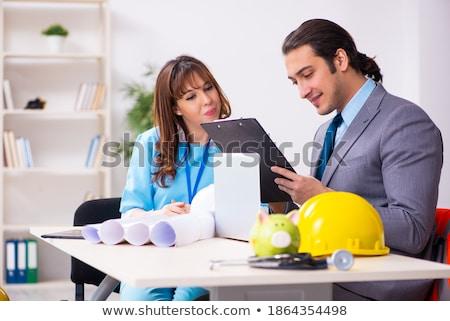 architectuur · ingenieur · tekening · werken · bouwkundig · project - stockfoto © Freedomz
