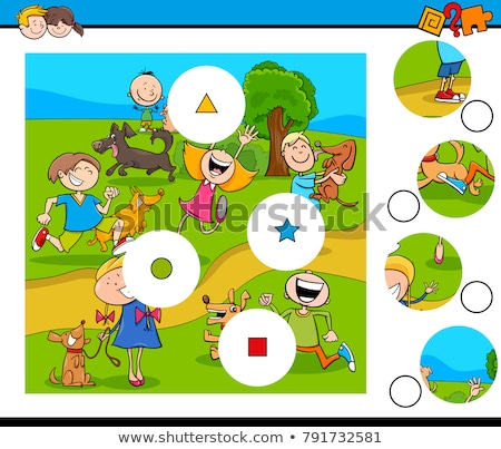 матча частей головоломки собаки Cartoon Сток-фото © izakowski