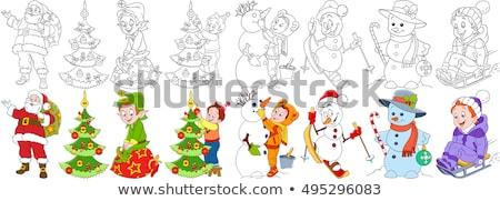 Weihnachten Zeichen Ausmalbuch schwarz weiß Karikatur Stock foto © izakowski