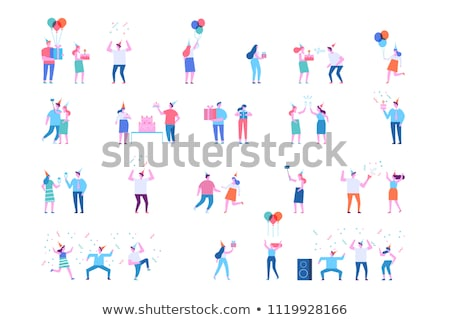 Female Happy Characters Friends with Balloons Stock photo © robuart