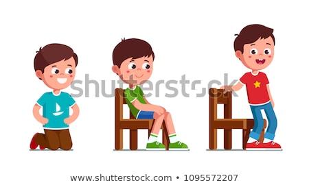 Fiú ül fából készült zsámoly izolált illusztráció Stock fotó © bluering