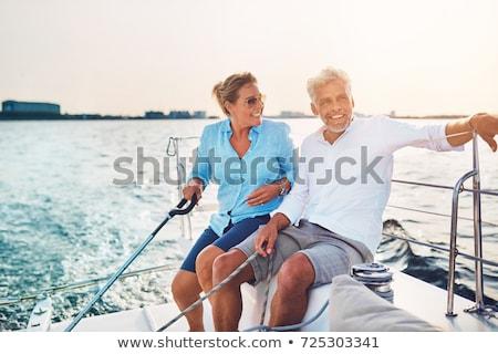 Férj feleség tenger utazás jacht égbolt Stock fotó © ElenaBatkova