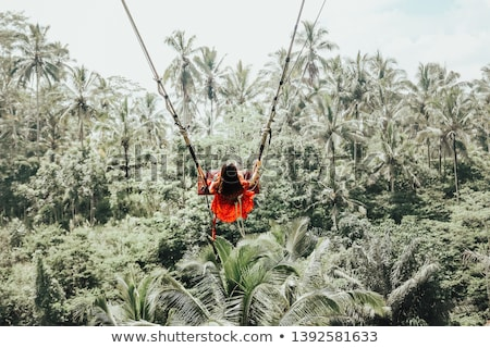 Young woman swinging in the jungle rainforest of Bali island, Indonesia. Swing in the tropics. Swing Stock photo © galitskaya