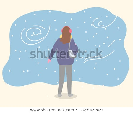 Woman Walk Alone in Warm Clothes and with Handbag Stock photo © robuart