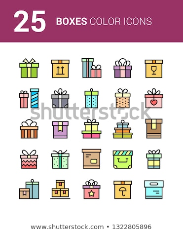 25 Thin vector box icons with ribbons for web site and mobile design. Package, gift, present, happy  Stock photo © karetniy