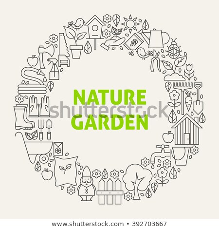 Watering can. Outline icon in a circle. Gardening vector illustration Stock photo © Imaagio