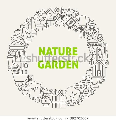 Konewka ikona kółko ogrodnictwo odizolowany Zdjęcia stock © Imaagio