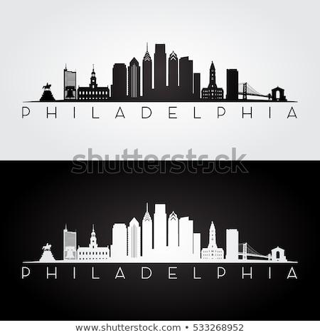 Philadelphia City skyline black and white silhouette. Stock photo © ShustrikS
