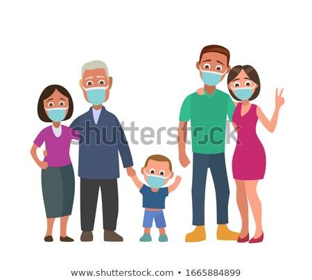 семьи защиту пиктограммы родителей дедушка и бабушка дети Сток-фото © yupiramos