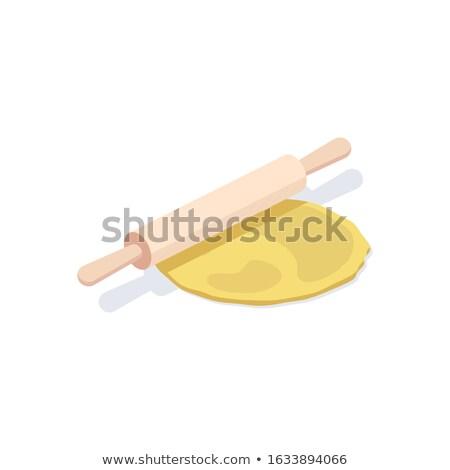 Wałkiem izometryczny ikona wektora drewna Zdjęcia stock © pikepicture